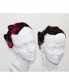 Burgundy - Brown Velvet Headband with Loop Bow at Side
