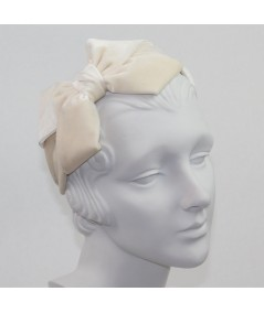 Ivory Velvet Headband with Loop Bow at Side