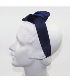 Navy Velvet Headband with Loop Bow at Side