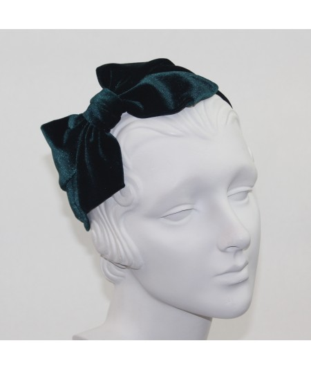 Teal Velvet Headband with Loop Bow at Side