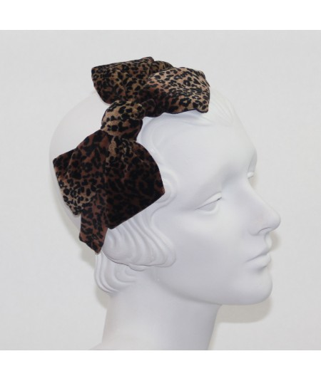 Leopard Velvet Carolina Bow Headband