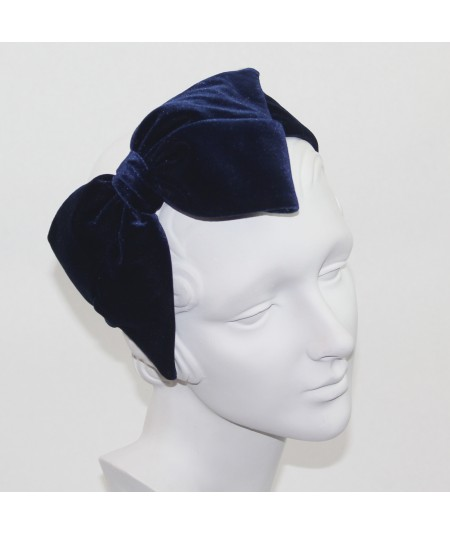 Navy Velvet Large Bow Headpiece