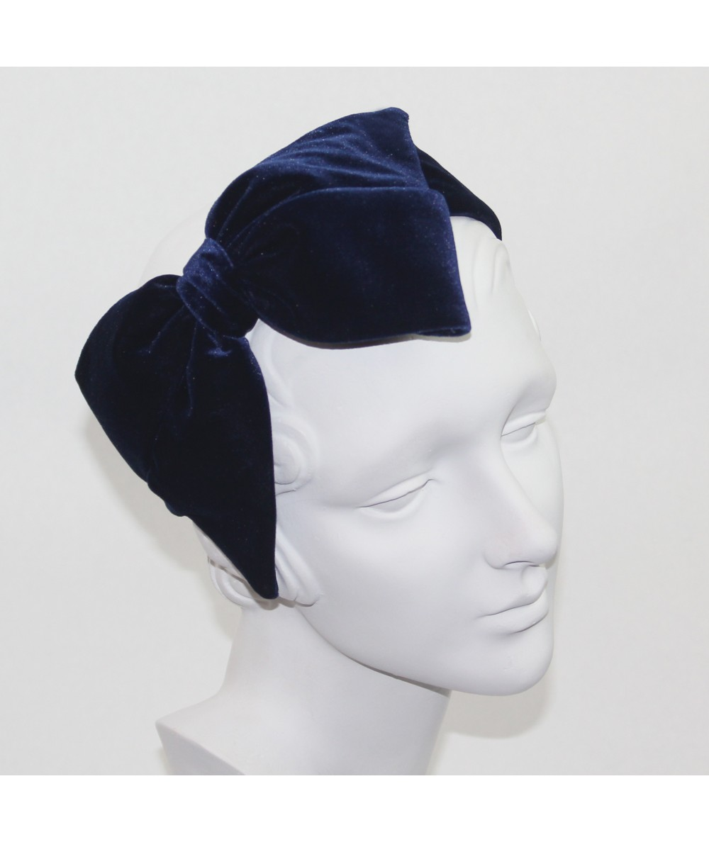 Navy Velvet Large Bow Headpiece