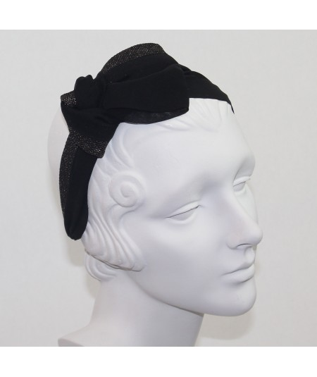 Draped Chiffon and Metallic Tulle Extra Wide Headband with Side Knot Bow
