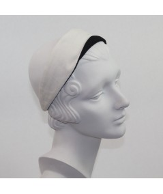 Ivory with Black Cotton Twill Basic Headband with Contrast Detail