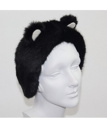 Black with Ivory PANDA Bear Earmuffs
