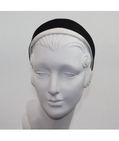 Black with Ivory Cotton Twill Basic Headband with Contrast Detail