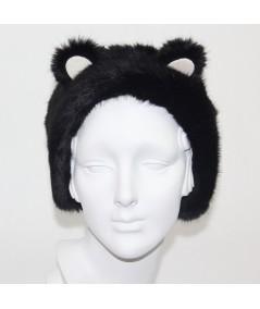 Black with Ivory PANDA Bear Earmuffs