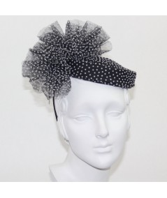 Black with White Dotted Tulle Headpiece