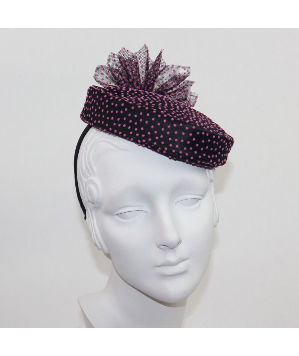 Black with Pink Polka Dot Tulle vintage styled hat fascinator