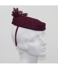 Burgundy Dotted Tulle Fascinator
