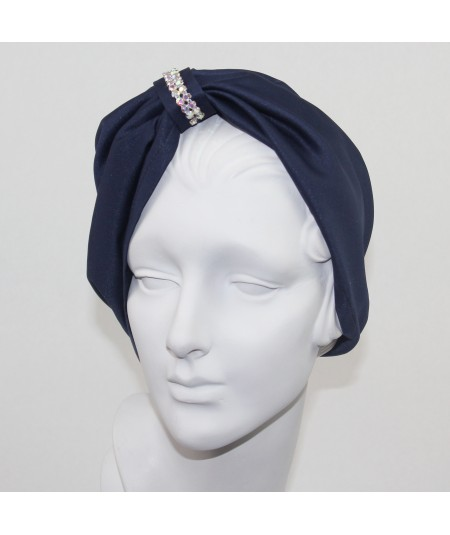 Navy Satin Turban Hat with Rhinestones