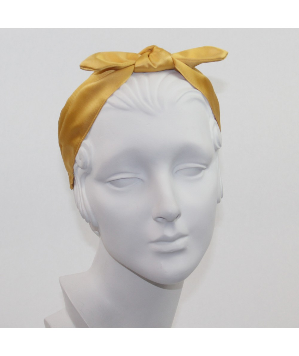 Yellow Gold Satin Riveter Bow Headband