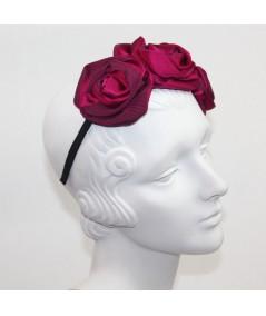 Wine Handmade Satin and Grosgrain Roses Headpiece
