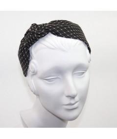 Black Satin Covered Beige Veiling Side Turban Headband