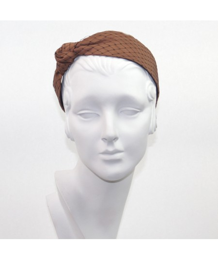Cocoa Satin Covered Black Veiling Side Turban Headband