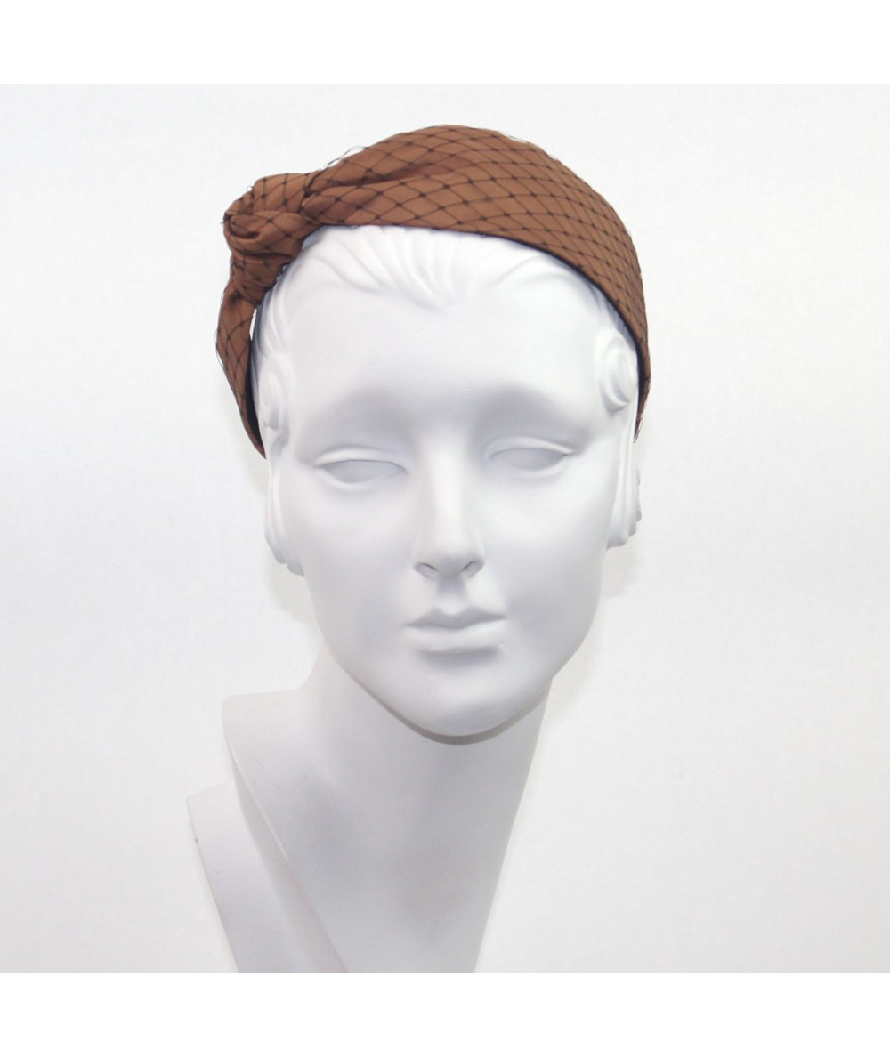 Cocoa Satin Covered Black Veiling Side Turban Headband