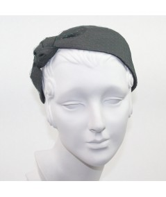 Charcoal Satin Covered Dark Green Veiling Side Turban Headband