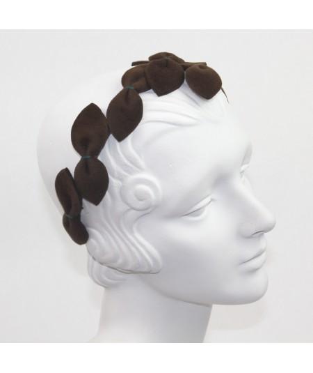 Brown with Billiard Stitch Vintage Styled Headpiece Sabrina - Handmade of Velour Felt