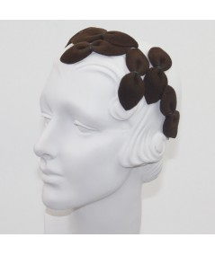 Brown Vintage Styled Headpiece Sabrina - Handmade of Velour Felt