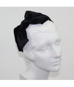 Black Velvet Headband with Loop Bow at Side