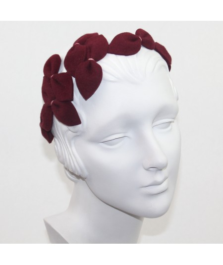 Wine Vintage Styled Headpiece Sabrina - Handmade of Velour Felt
