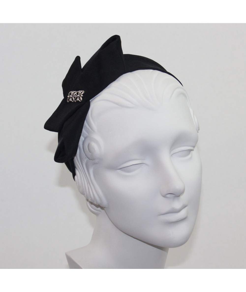 Black Bengaline Side Bow with Metal Flower Headband