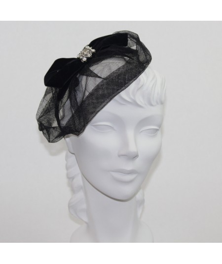 Chloe Metallic Sparkle Tulle with Velvet Bow and Rhinestone Face Veil
