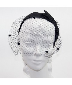 Miss Davis Dotted Face Veil with Grosgrain Bow