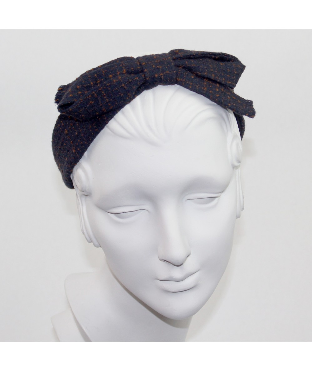 Navy and Rust Bow Headband
