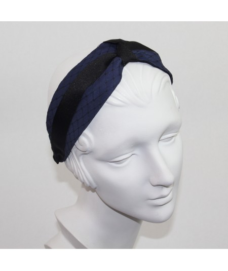 Satin Extra Wide Covered Veiling Headband with Grosgrain Twisted