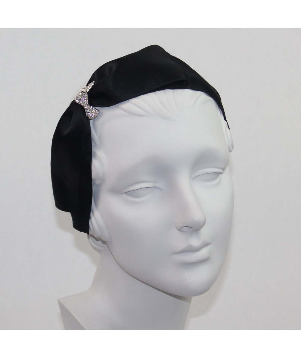 Satin Audrey Headband with Rhinestone