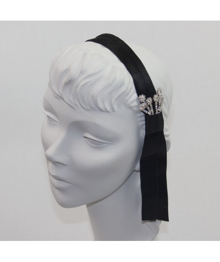 Satin Headband with Tassel and Rhinestones