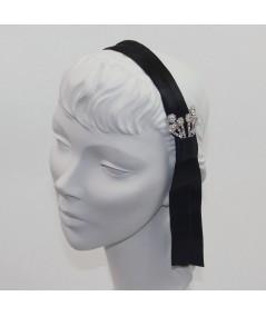 Satin Headband with Tassel and Rhinestones