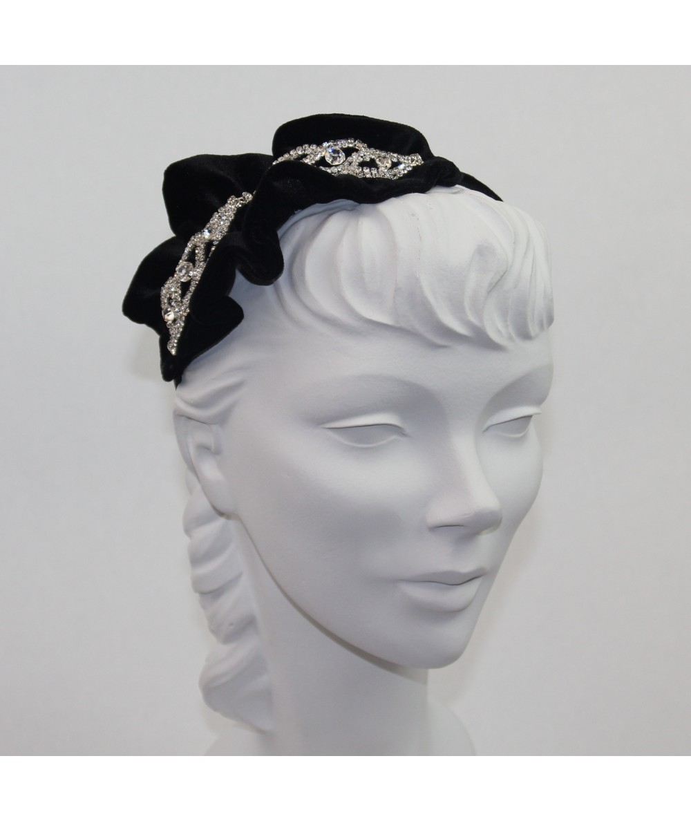 Velvet Twisted Headband with Rhinestones