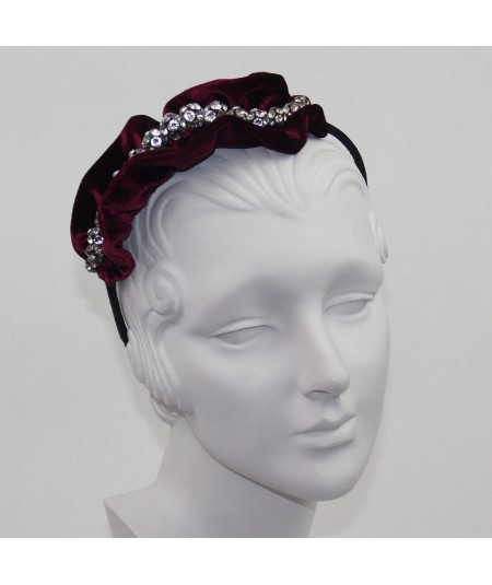 Velvet Side Ruffle with Rhinestones Headband