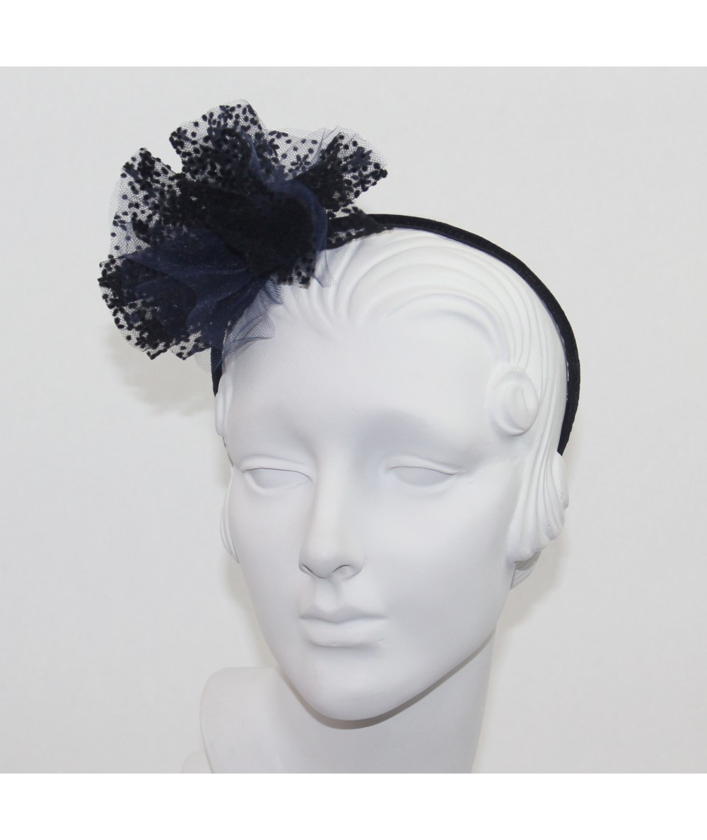 Two Toned Flower Tulle Pom Pom Headband