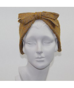 Marigold Camel Boucle Center Bow Earmuffs