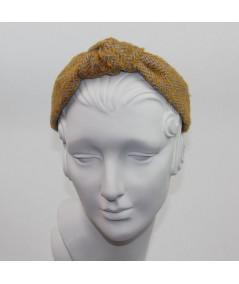 Marigold Camel Boucle or Tweed Wool Center Turban Headband