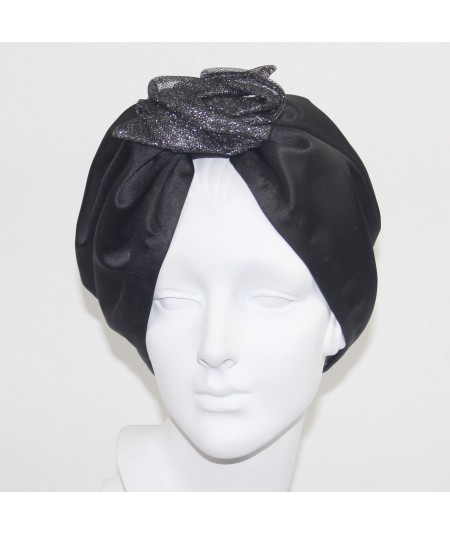 Satin Turban Hat with Metallic Tulle Flower