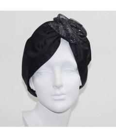 Satin Turban Hat with Metallic Tulle Flower