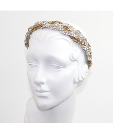 Two Toned Rhinestones Braided Headband
