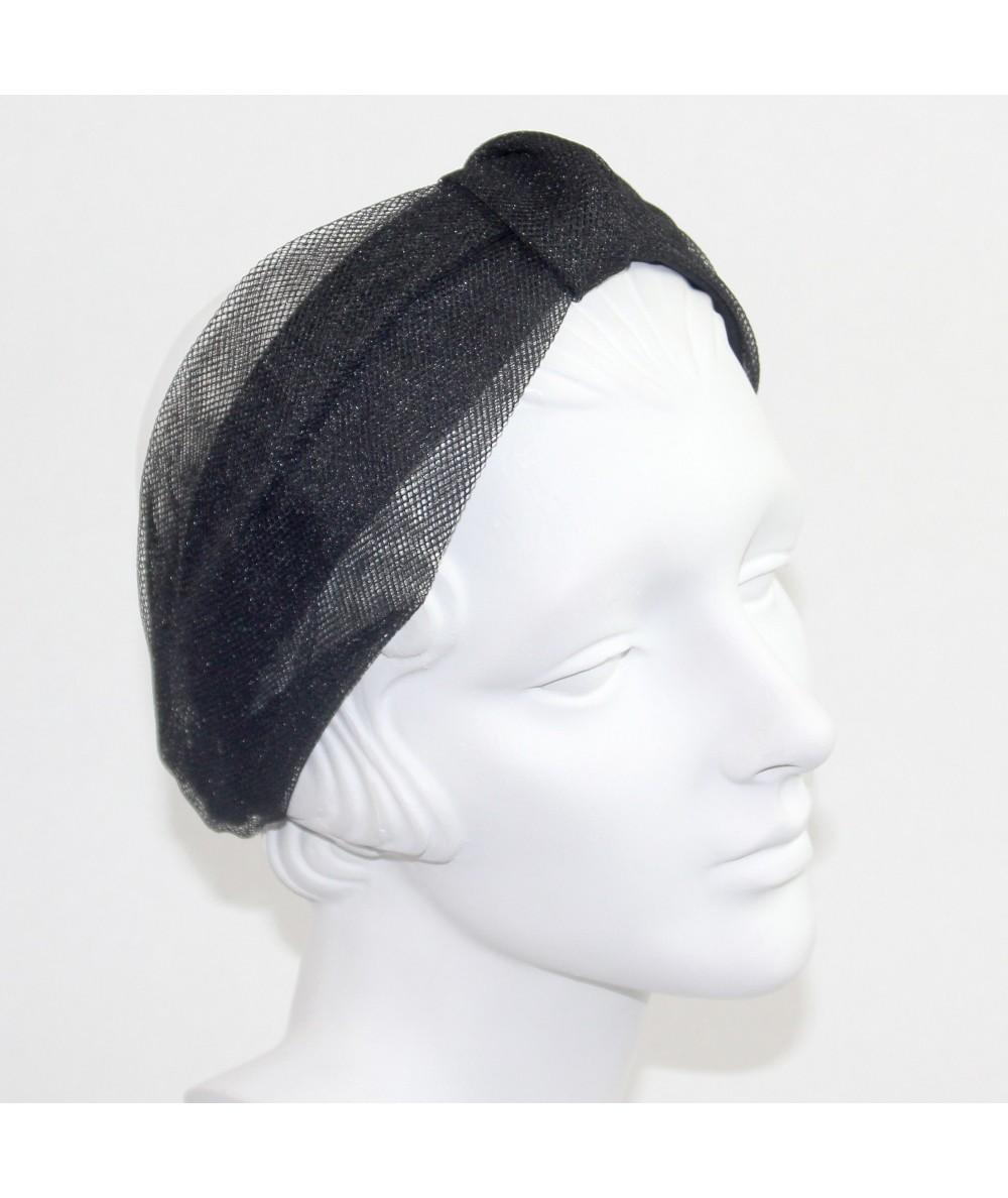 Black Metallic Tulle Draper Headband
