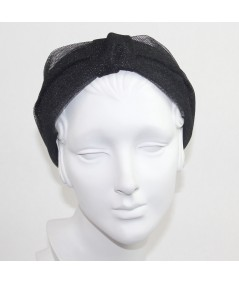 Black Metallic Tulle Draper Headband
