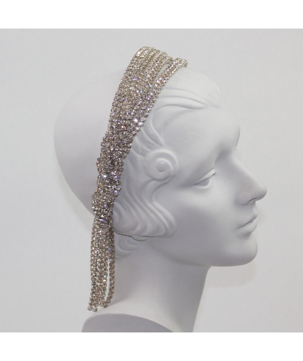 Rhinestone Triple Tiara Headpiece with Tassel