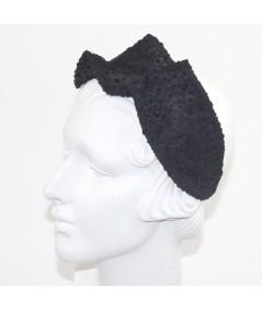 Black Dotted Tulle Twist Headband