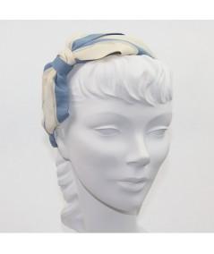 Two Toned Grosgrain Cream - Country Blue & Eggshell Velvet Stripe Carolina Bow Headband