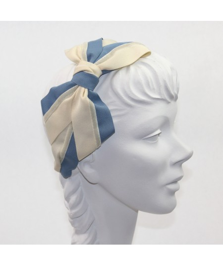Two Toned Grosgrain Cream - Country Blue & Eggshell Velvet Stripe Carolina Bow Headband