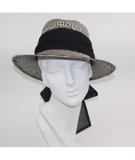 Italian Straw Fedora with Silk Chiffon Bow