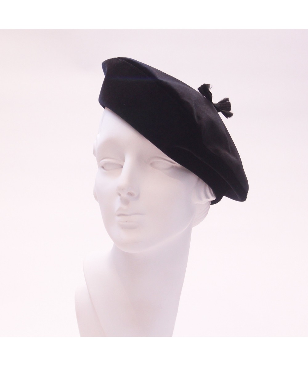 Bengaline Beret with Frayed Grosgrain Detail